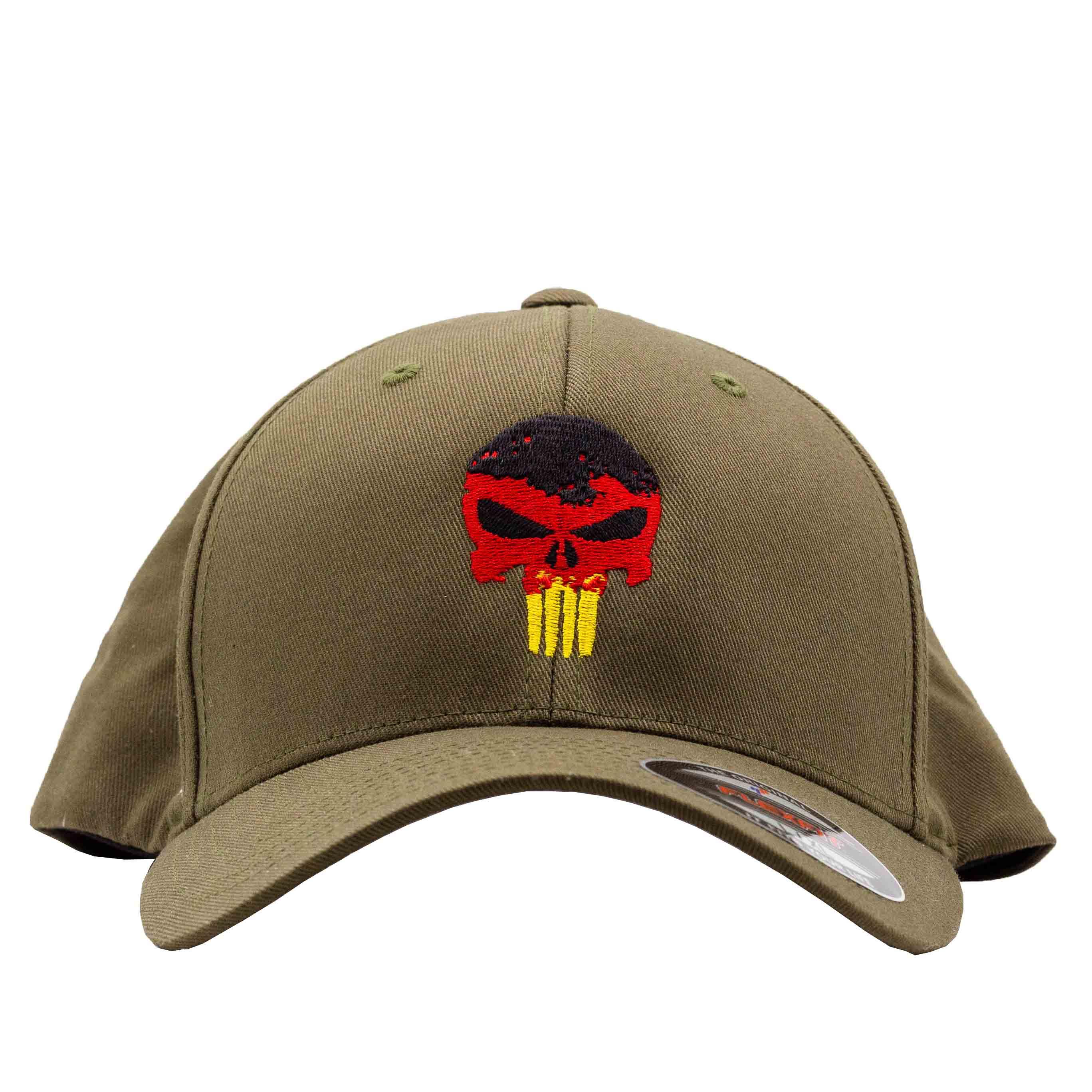 Original Flexfit Cap Punisher Schwarz Rot Gold